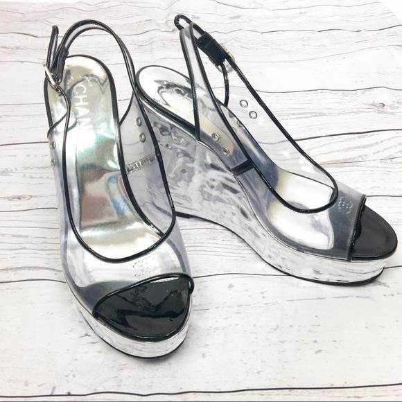 d2ca8dd6631 CHANEL Shoes - CHANEL Transparent Lucite Logo Platform Silver 38